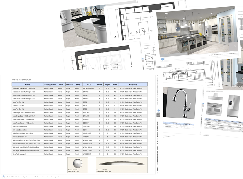Kitchen rendering with product schedule